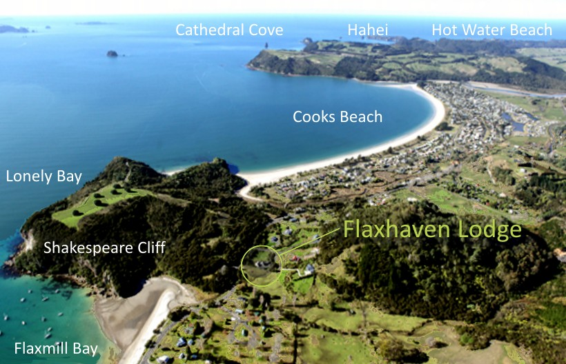 Cooks Beach Flaxmill Bay Shakepeare Cliff Lonely Bay Flaxhaven Lodge